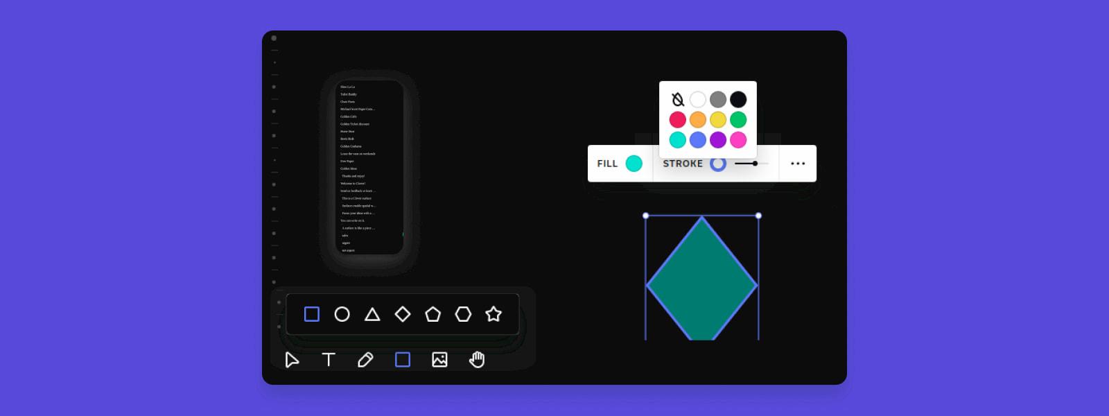 Clover uygulaması - geometrik şekiller